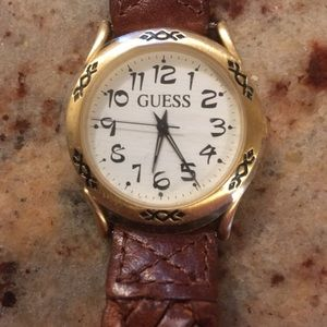 Boho Guess braided brown leather watch